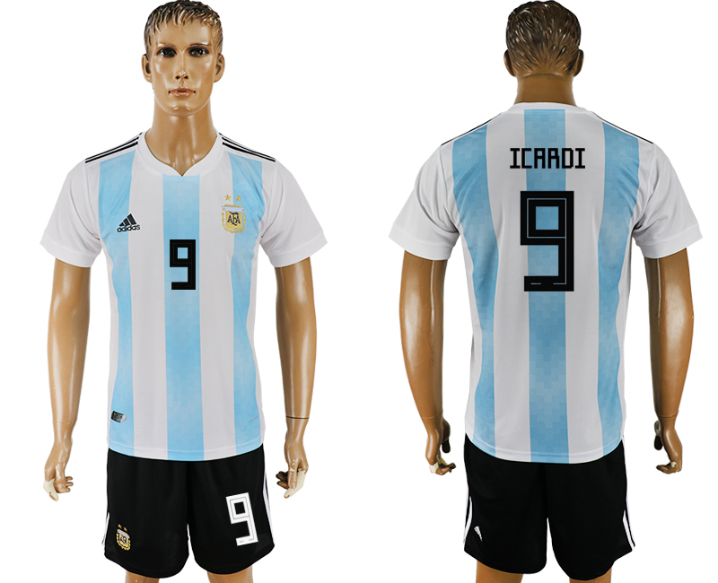 Men 2018 World Cup Argentina home 9 white soccer jersey1
