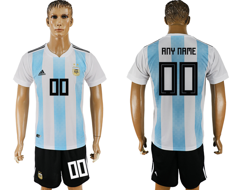 Men 2018 World Cup Argentina home customized white soccer jersey