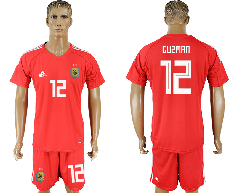 Men 2018 World Cup Argentina red goalkeeper 12 soccer jersey
