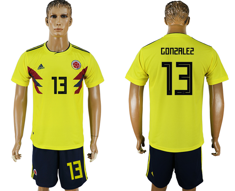 Men 2018 World Cup Colombia home 13 yellow soccer jersey
