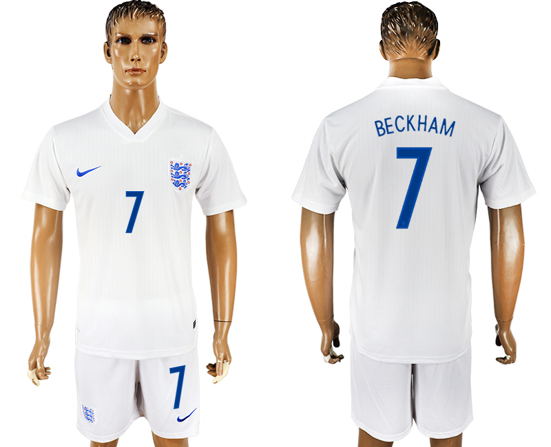 Men 2018 World Cup England home 7 white soccer jersey