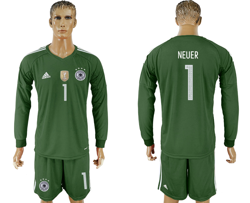 Men 2018 World Cup Germany Military green goalkeeper Long sleeve 1 soccer jersey