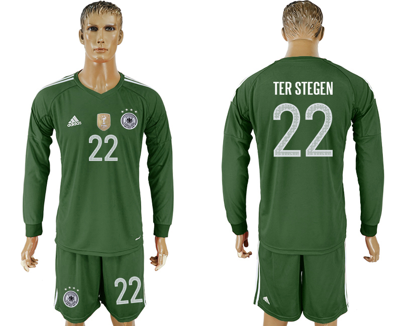 Men 2018 World Cup Germany Military green goalkeeper Long sleeve 22 soccer jersey