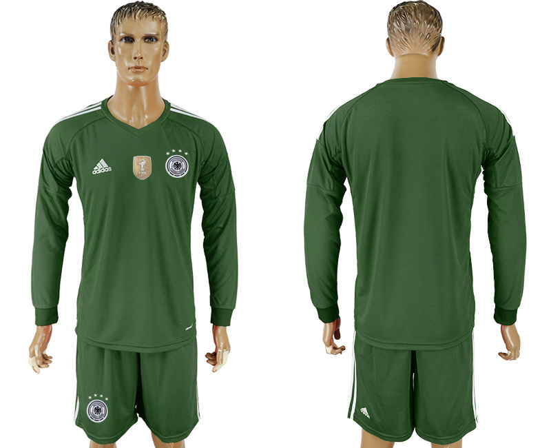 Men 2018 World Cup Germany Military green goalkeeper Long sleeve blank soccer jersey
