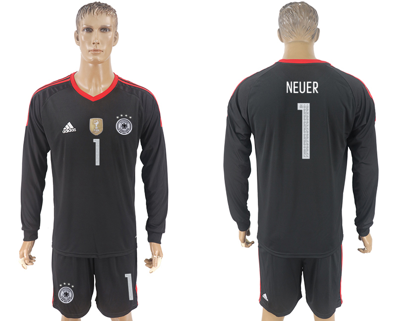 Men 2018 World Cup Germany black goalkeeper long sleeve 1 soccer jersey