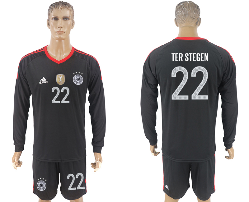 Men 2018 World Cup Germany black goalkeeper long sleeve 22 soccer jersey