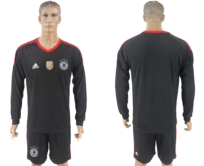Men 2018 World Cup Germany black goalkeeper long sleeve blank soccer jersey