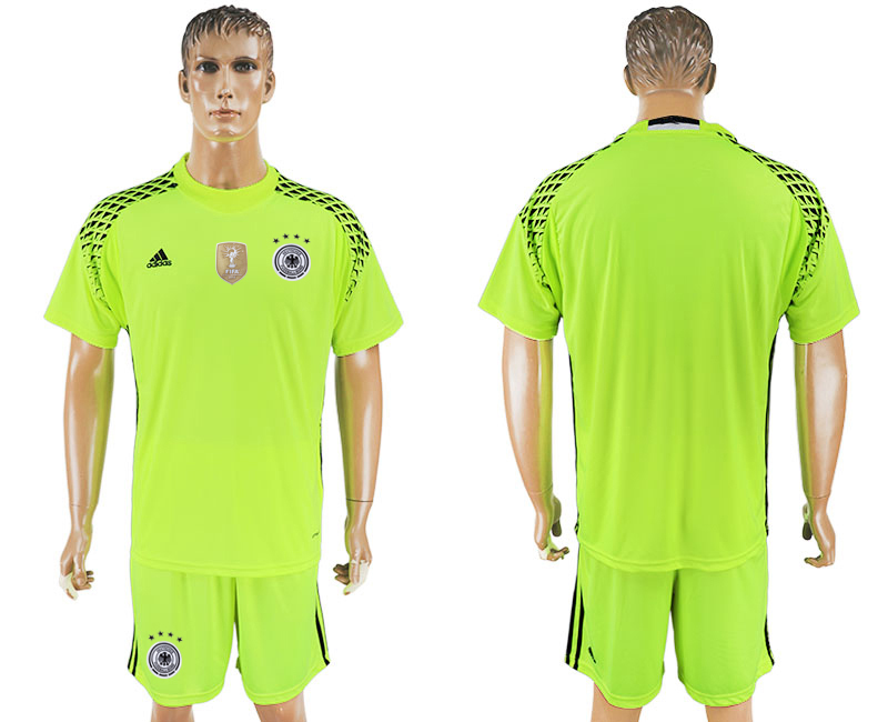 Men 2018 World Cup Germany fluorescent green goalkeeper soccer jersey