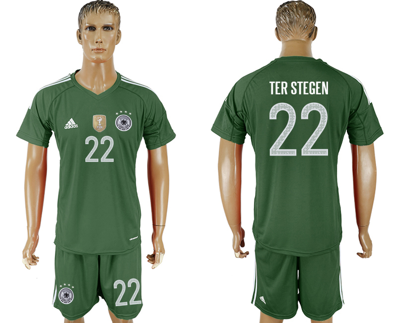 Men 2018 World Cup Germany green goalkeeper 22 green soccer jersey