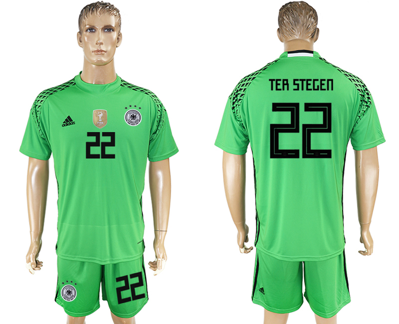 Men 2018 World Cup Germany green goalkeeper 22 soccer jersey
