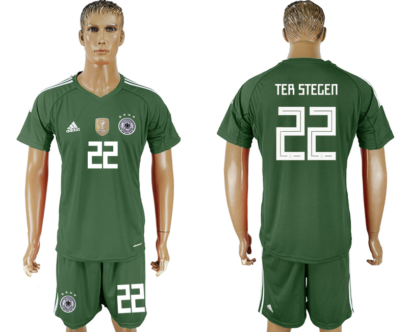 Men 2018 World Cup Germany green goalkeeper 22 soccer jersey1