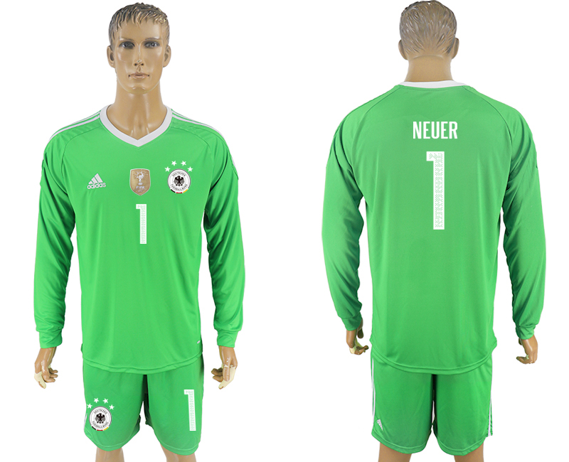 Men 2018 World Cup Germany green goalkeeper long sleeve 1 soccer jersey