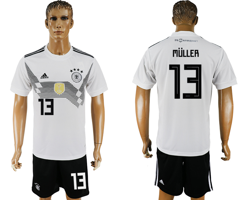 Men 2018 World Cup Germany home 13 white soccer jersey1