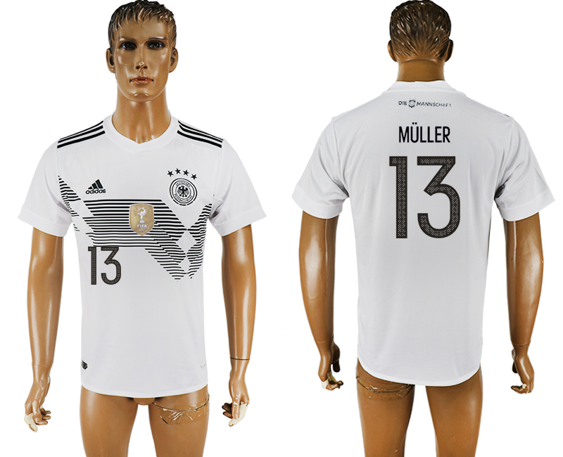 Men 2018 World Cup Germany home aaa version 13 white soccer jersey