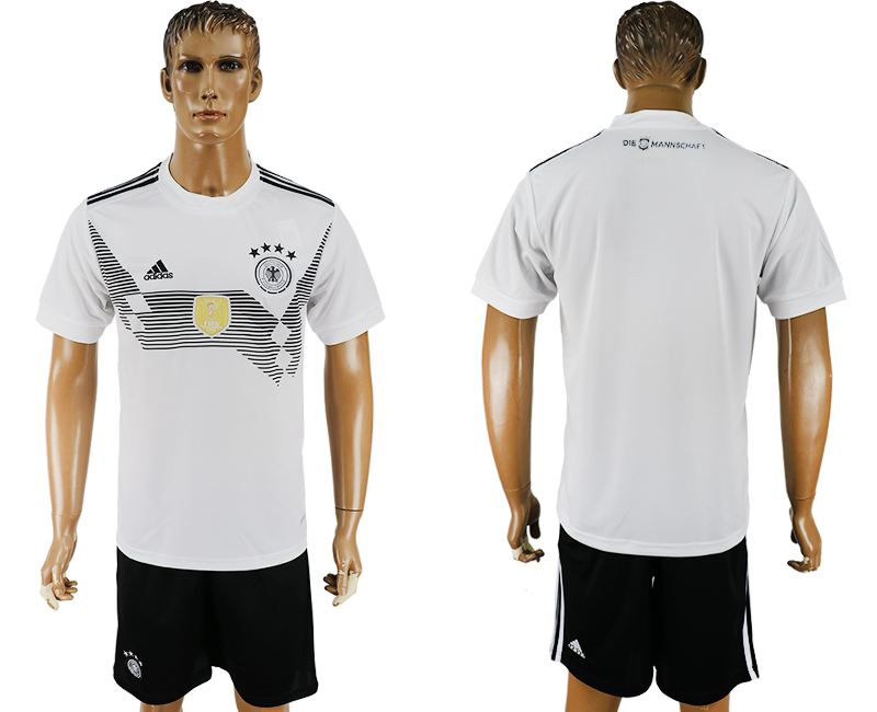 Men 2018 World Cup Germany home blank white soccer jersey