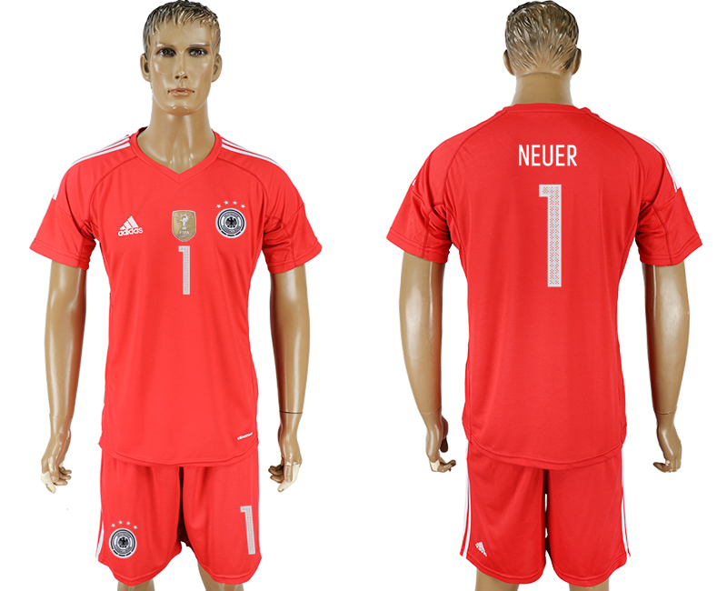 Men 2018 World Cup Germany red goalkeeper 1 red soccer jersey
