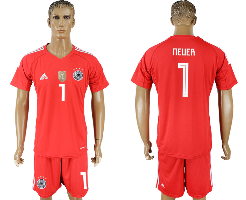Men 2018 World Cup Germany red goalkeeper 1 soccer jersey