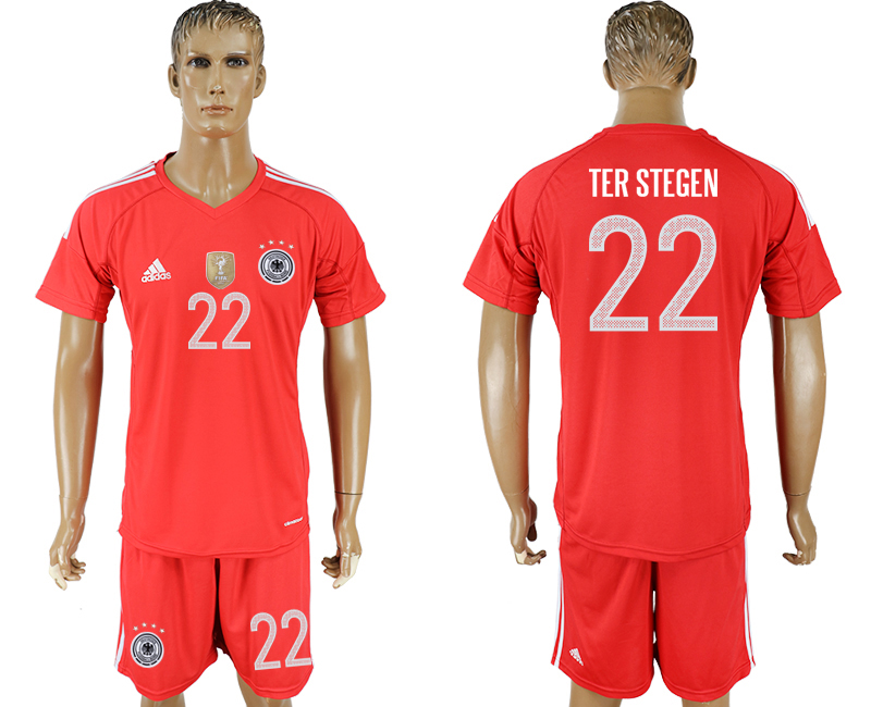 Men 2018 World Cup Germany red goalkeeper 22 red soccer jersey