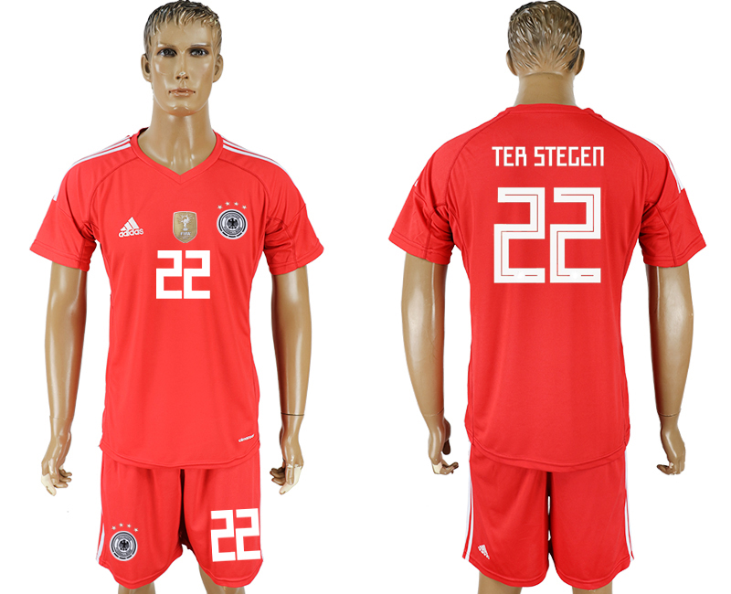 Men 2018 World Cup Germany red goalkeeper 22 soccer jersey