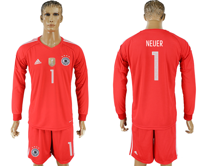 Men 2018 World Cup Germany red goalkeeper long sleeve 1 soccer jersey
