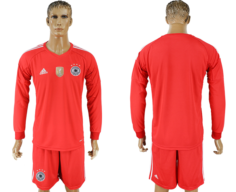 Men 2018 World Cup Germany red goalkeeper long sleeve blank soccer jersey