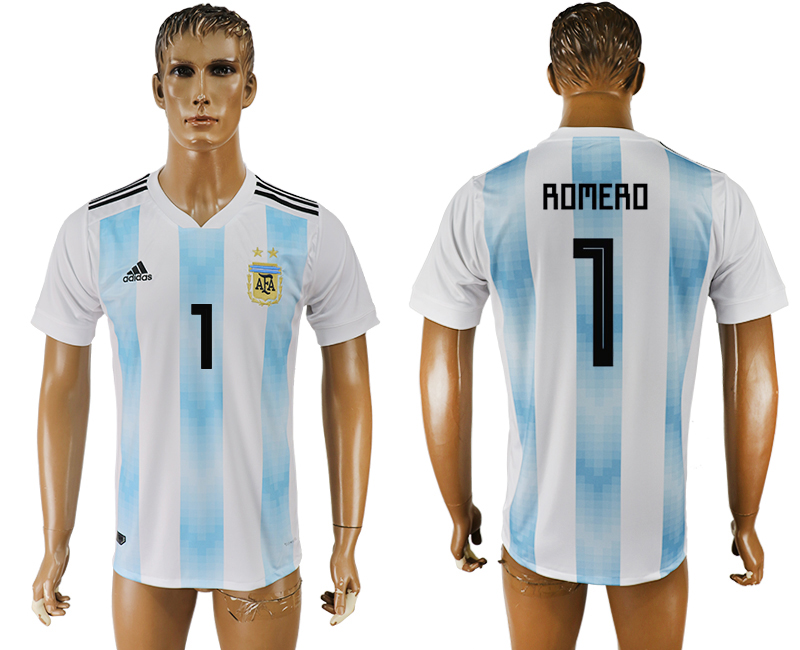 Men 2018 World Cup National Argentina home aaa version 1 white soccer jersey
