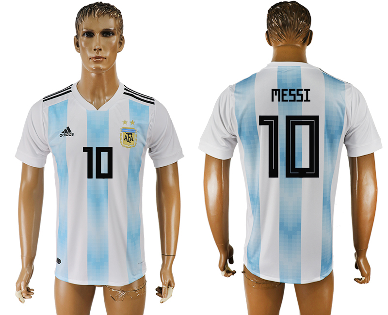 Men 2018 World Cup National Argentina home aaa version 10 white soccer jersey
