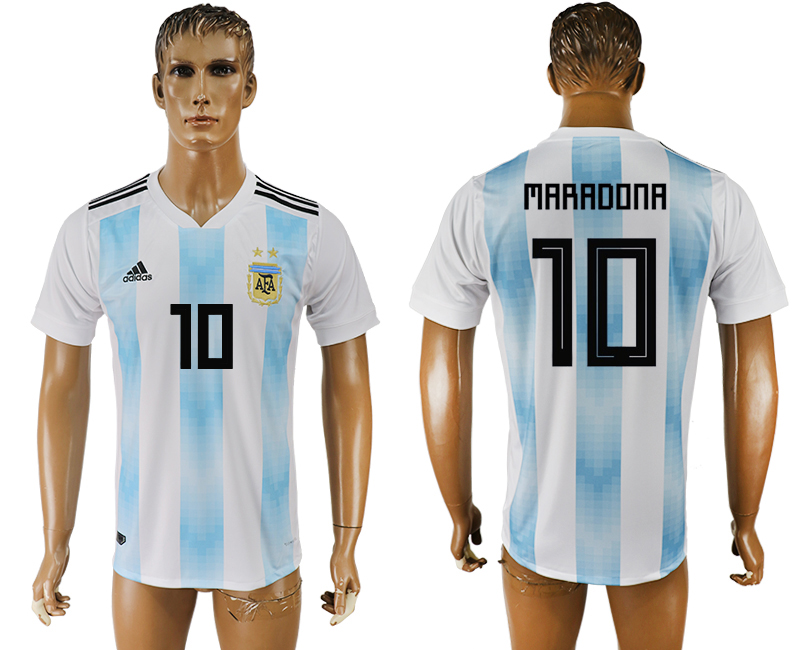 Men 2018 World Cup National Argentina home aaa version 10 white soccer jersey1