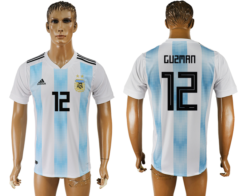 Men 2018 World Cup National Argentina home aaa version 12 white soccer jersey
