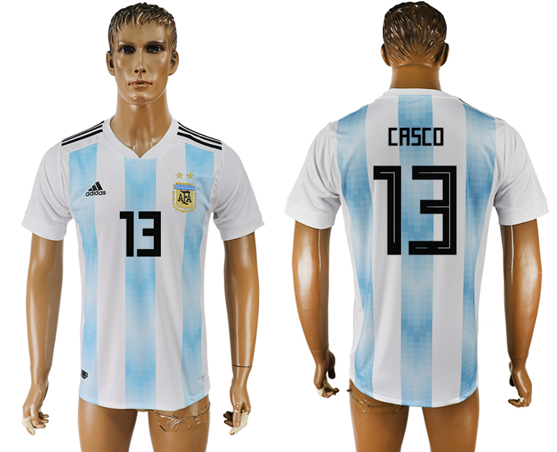 Men 2018 World Cup National Argentina home aaa version 13 white soccer jersey