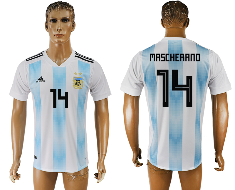Men 2018 World Cup National Argentina home aaa version 14 white soccer jersey