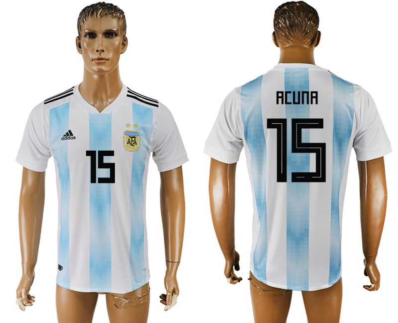 Men 2018 World Cup National Argentina home aaa version 15 white soccer jersey