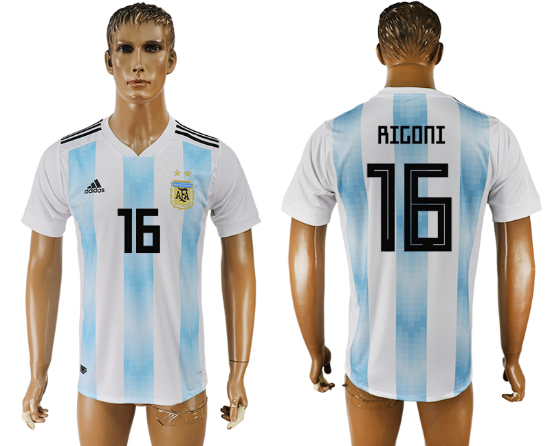 Men 2018 World Cup National Argentina home aaa version 16 white soccer jersey