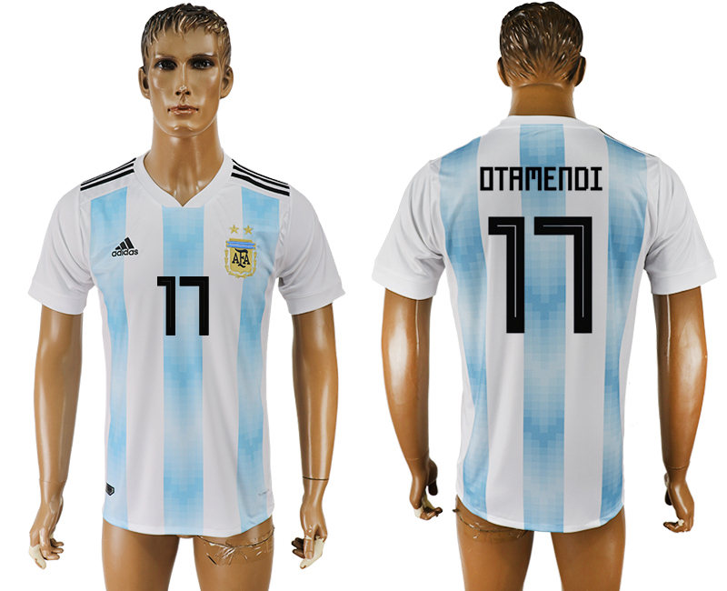 Men 2018 World Cup National Argentina home aaa version 17 white soccer jersey