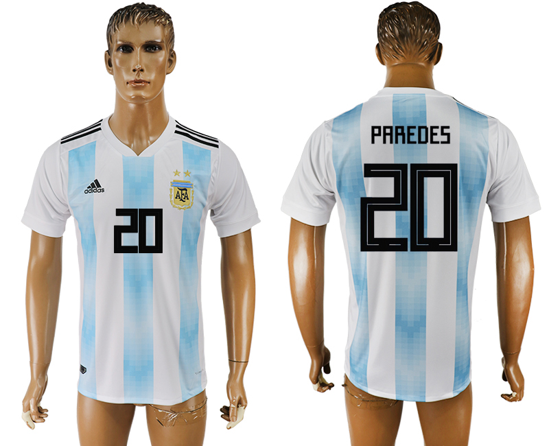 Men 2018 World Cup National Argentina home aaa version 20 white soccer jersey
