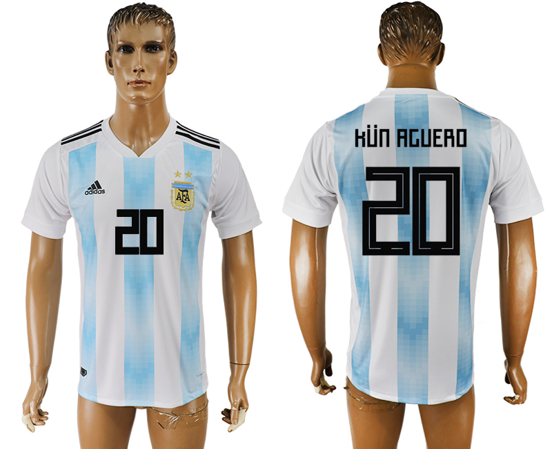 Men 2018 World Cup National Argentina home aaa version 20 white soccer jersey1