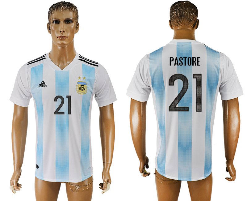 Men 2018 World Cup National Argentina home aaa version 21 white soccer jersey