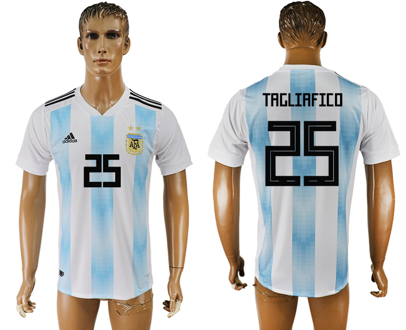 Men 2018 World Cup National Argentina home aaa version 25 white soccer jersey