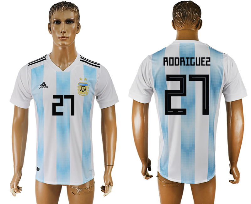 Men 2018 World Cup National Argentina home aaa version 27 white soccer jersey