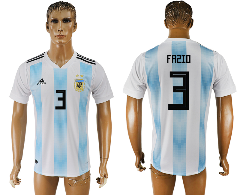 Men 2018 World Cup National Argentina home aaa version 3 white soccer jersey