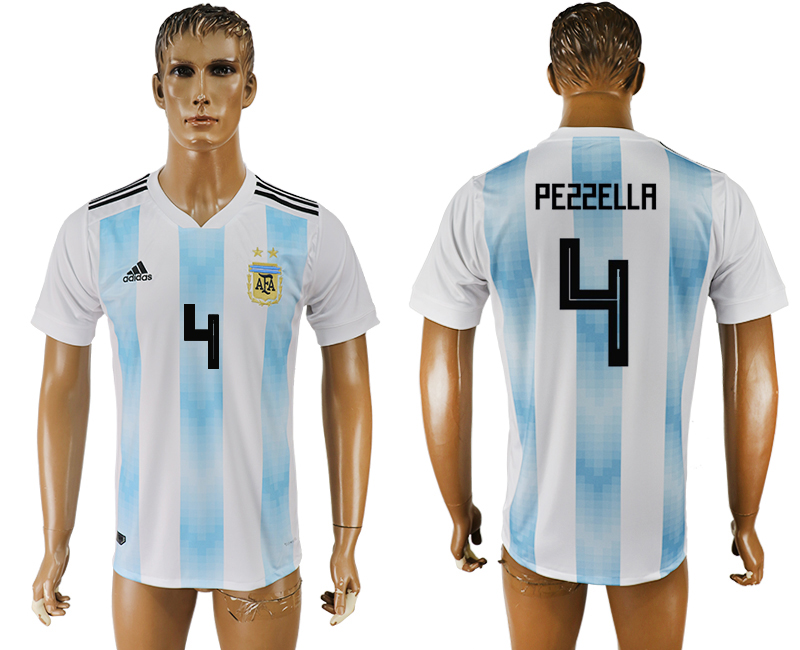 Men 2018 World Cup National Argentina home aaa version 4 white soccer jersey