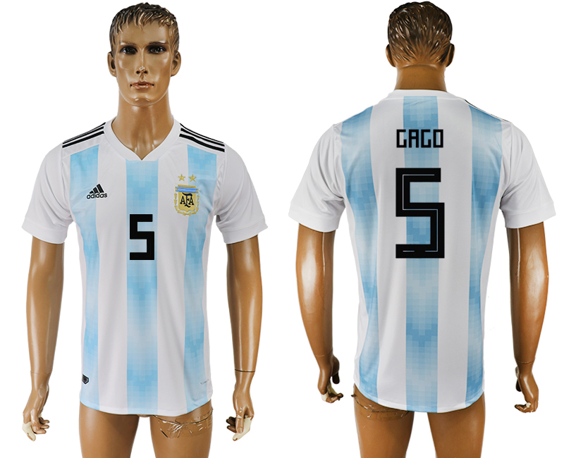 Men 2018 World Cup National Argentina home aaa version 5 white soccer jersey