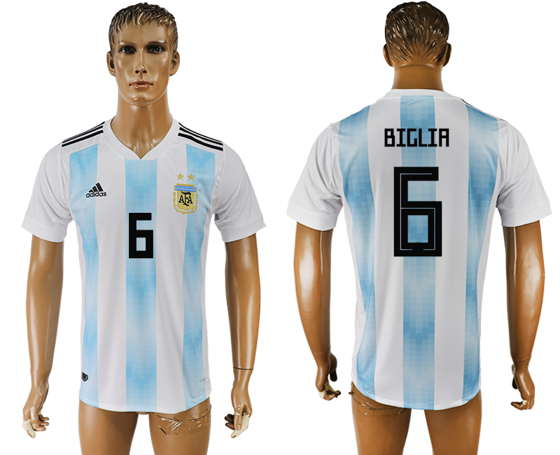 Men 2018 World Cup National Argentina home aaa version 6 white soccer jersey