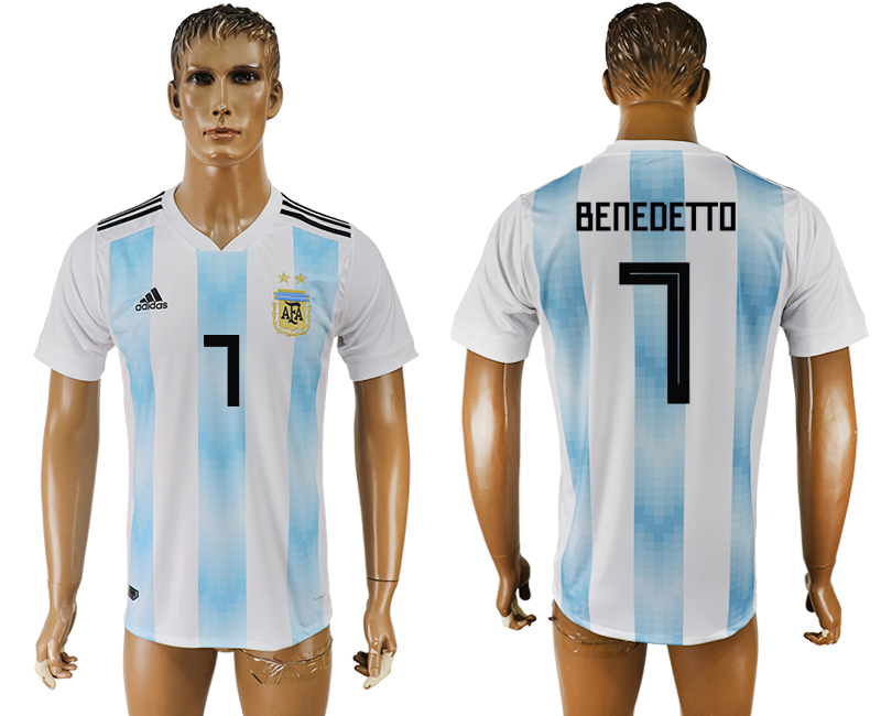 Men 2018 World Cup National Argentina home aaa version 7 white soccer jersey