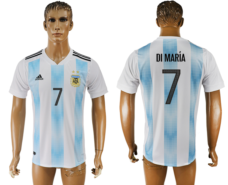 Men 2018 World Cup National Argentina home aaa version 7 white soccer jersey1