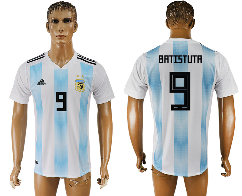 Men 2018 World Cup National Argentina home aaa version 9 white soccer jersey1