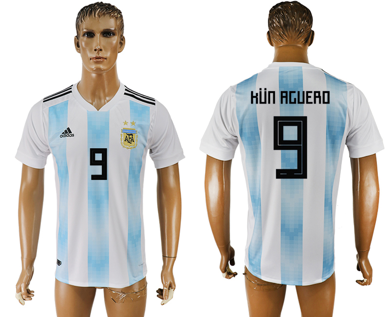 Men 2018 World Cup National Argentina home aaa version 9 white soccer jersey2