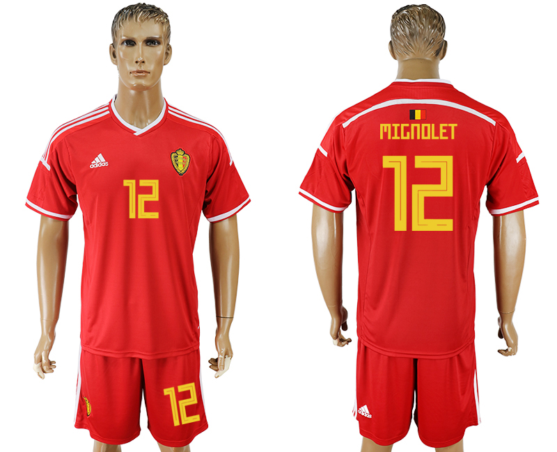 Men 2018 World Cup National Belgium home 12 red soccer jersey