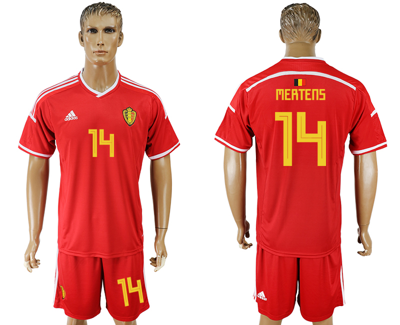 Men 2018 World Cup National Belgium home 14 red soccer jersey