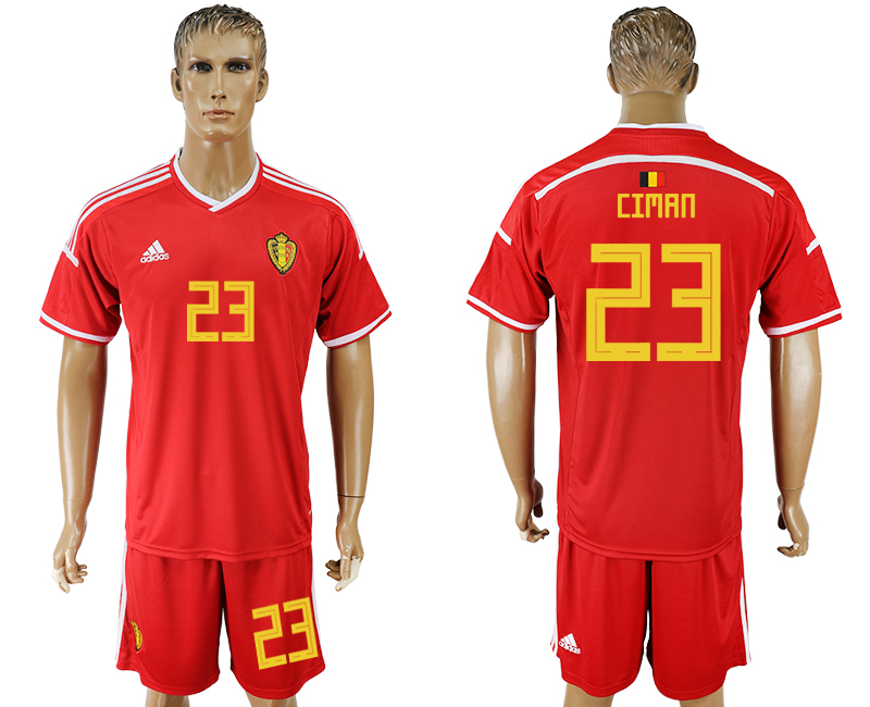 Men 2018 World Cup National Belgium home 23 red soccer jersey